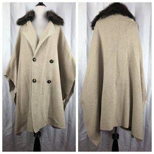 ZARA Knit Fur Collar Poncho Cape Coat Oversize L